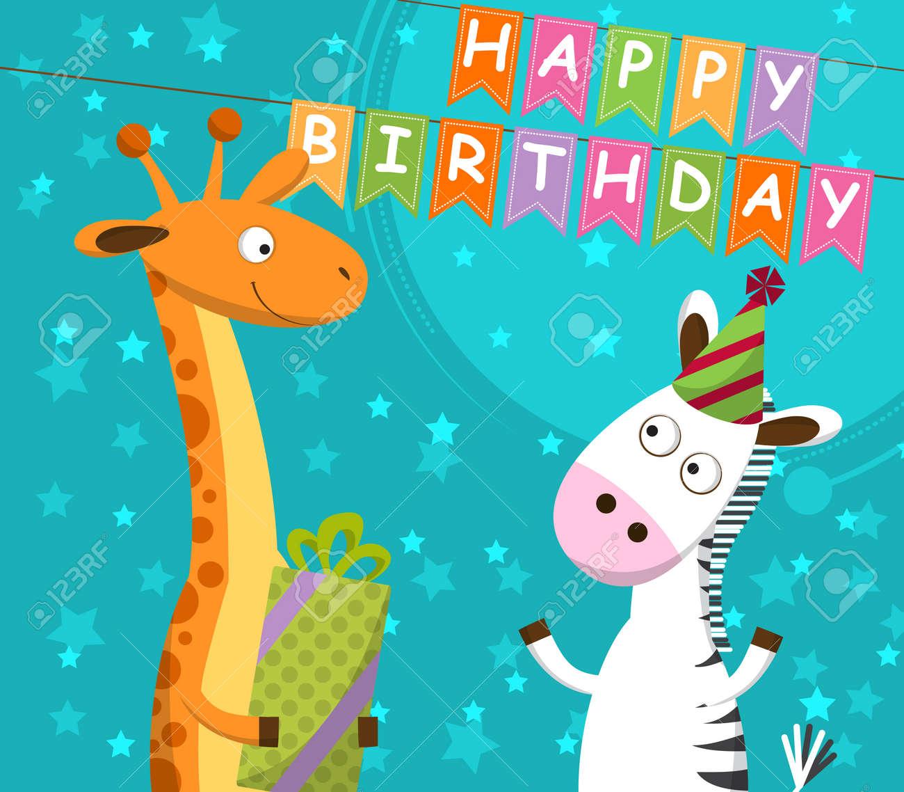 Carte Anniversaire Zebre.Carte Postale Avec Girafe Et Zebre Qui Celebrent L Anniversaire Illustration Vectorielle
