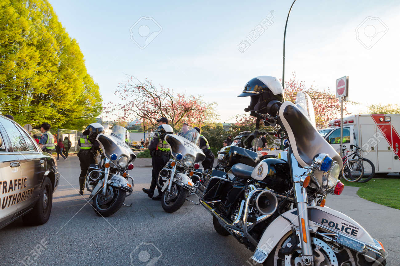 VANCOUVER, BC, CANADA - APR 20, 2019: VPD motorcycles and patrol