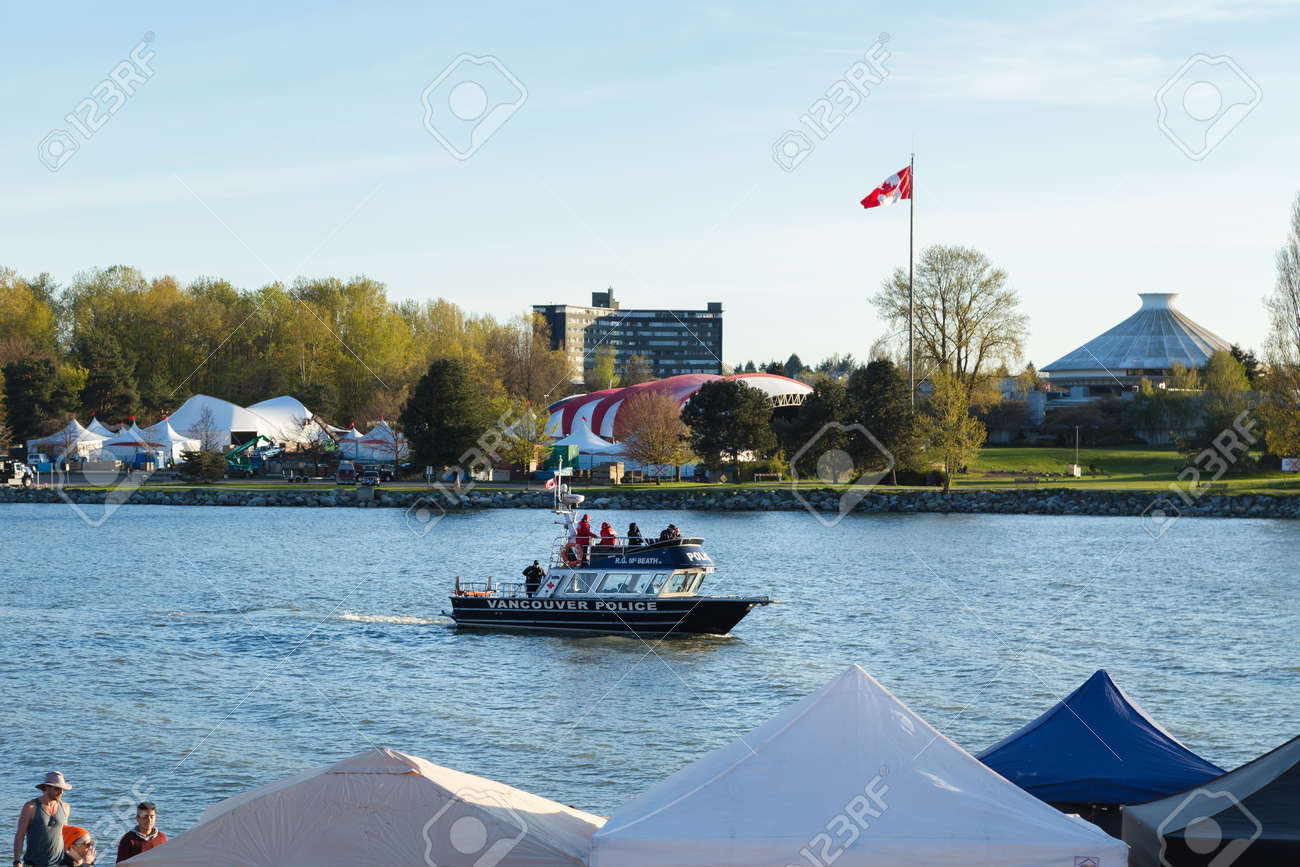VANCOUVER, BC, CANADA - APR 20, 2019: A Vancouver Police boat