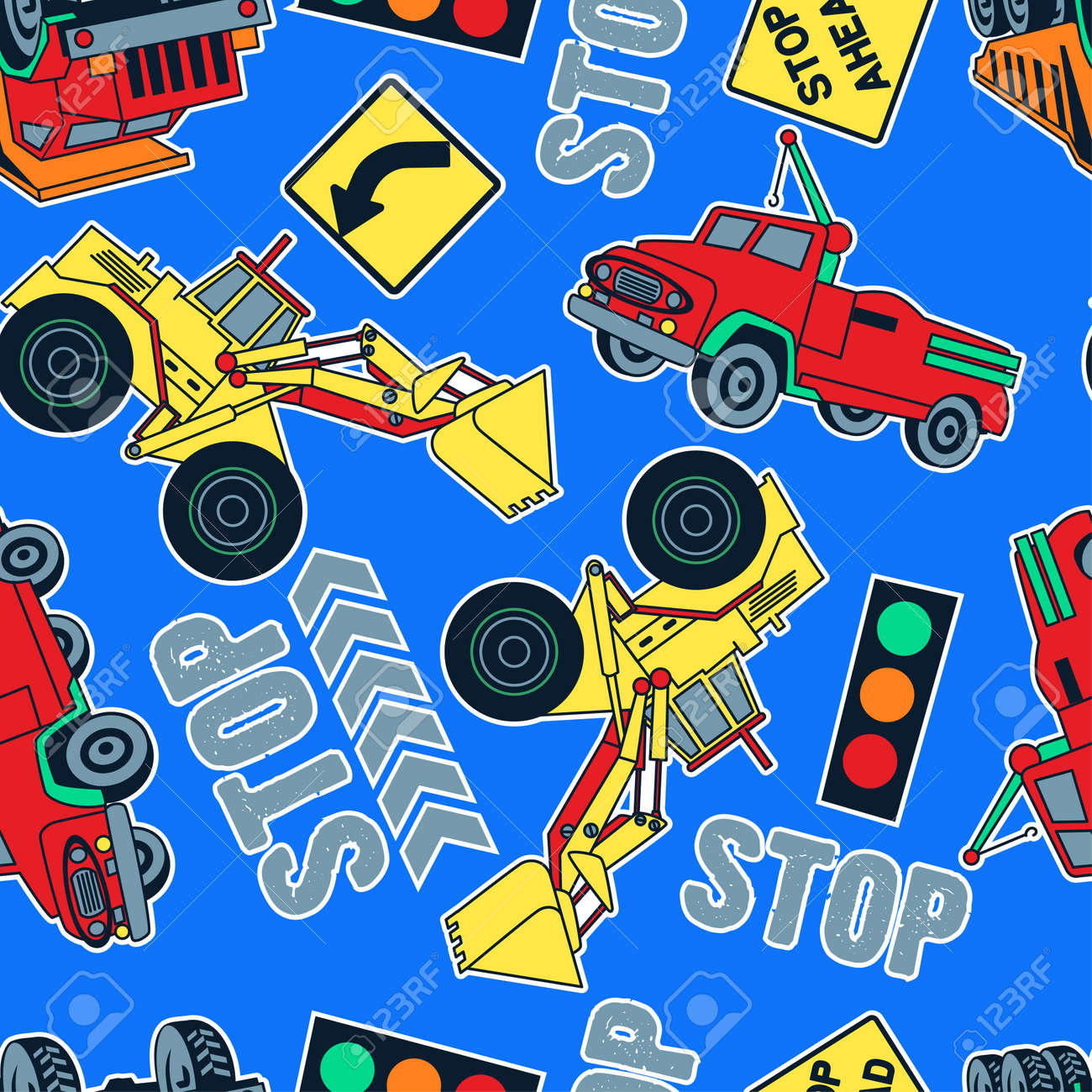 seamless pattern of construction trucks and tractors in a blue