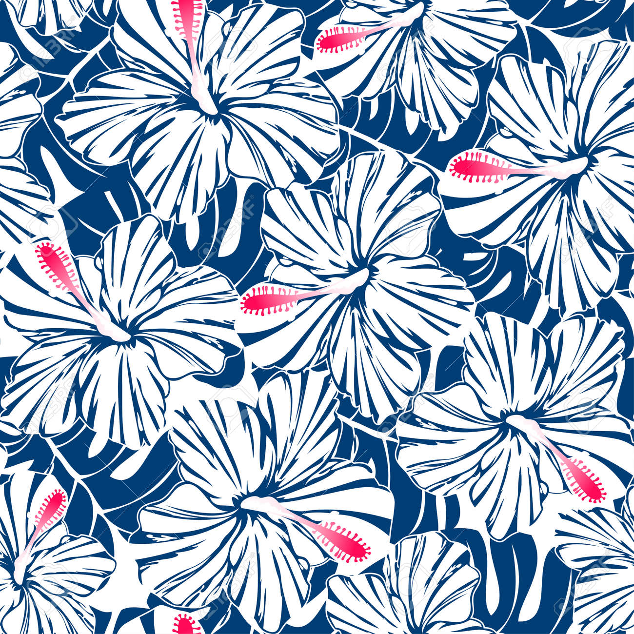 Blue Tropical Hibiscus And Palm Seamless Pattern Royalty Free