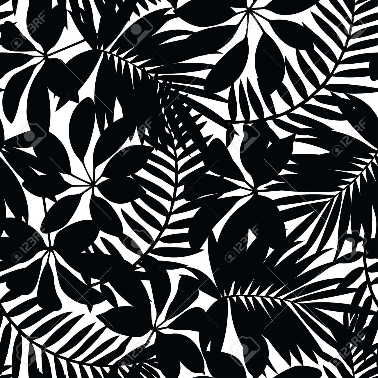 black and white tropical leaves seamless pattern royalty free