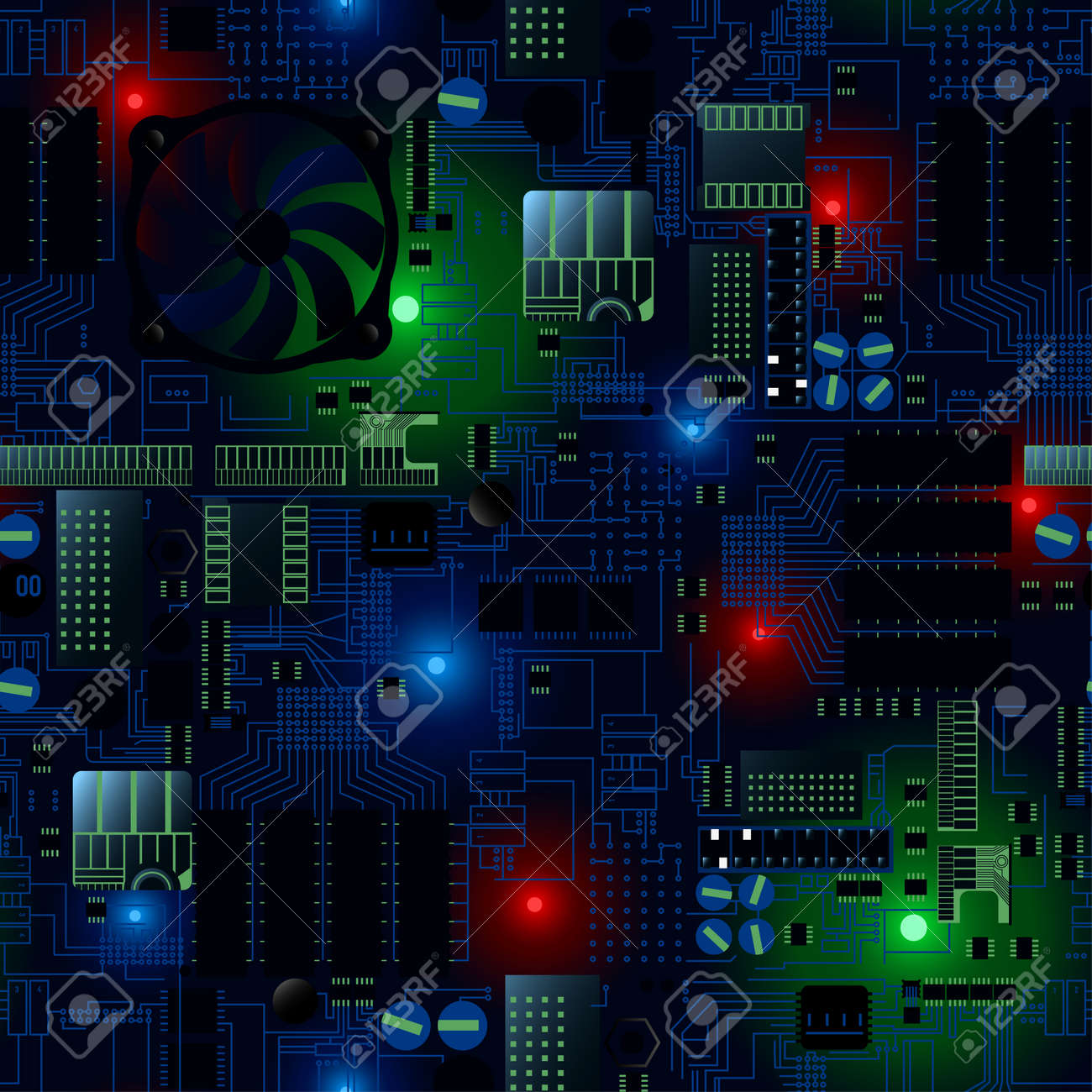 Awe Inspiring Circuit Board With Leds And Wires Seamless Pattern Royalty Free Wiring Digital Resources Funapmognl