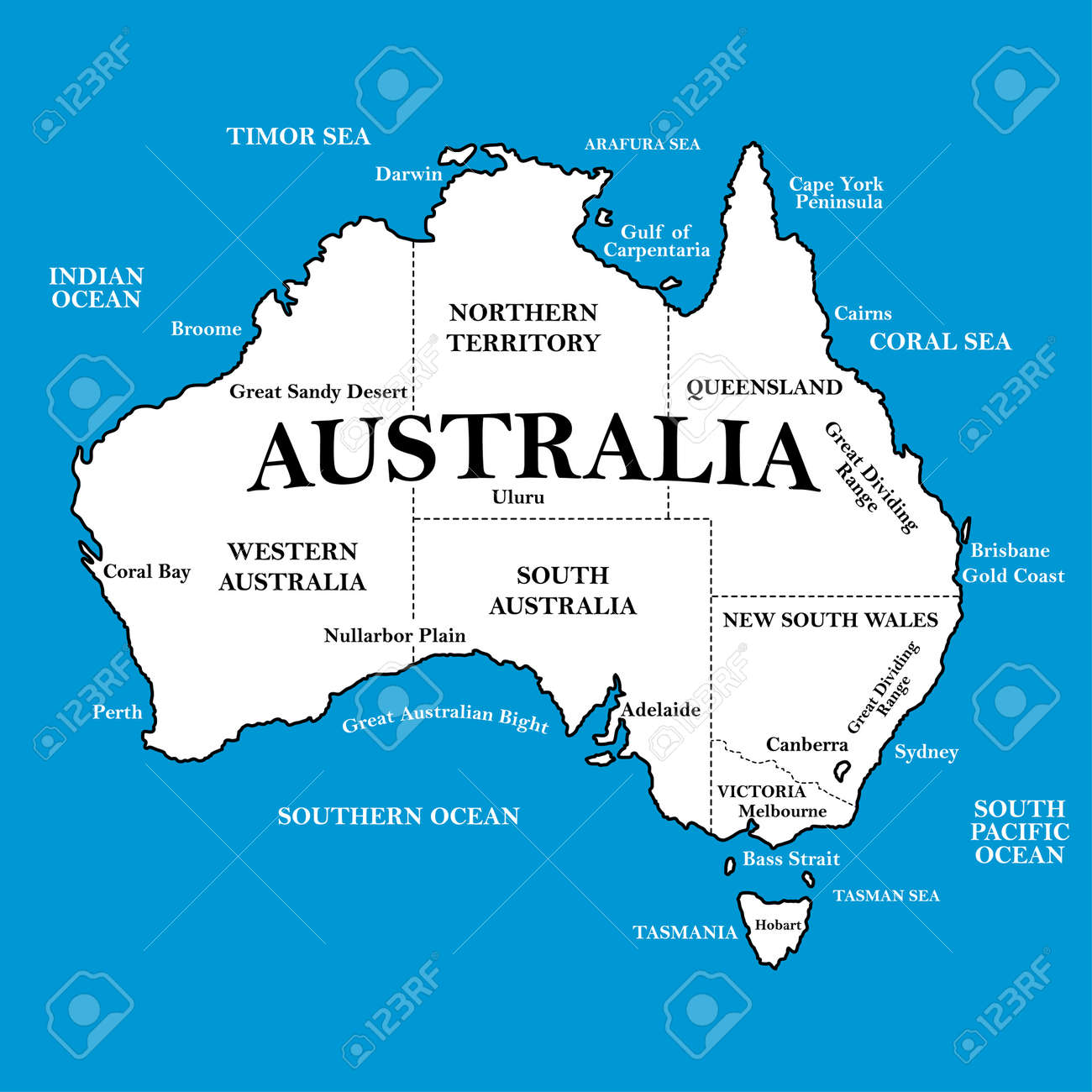 Map Of Australia With Locations On A Blue Background Royalty Free