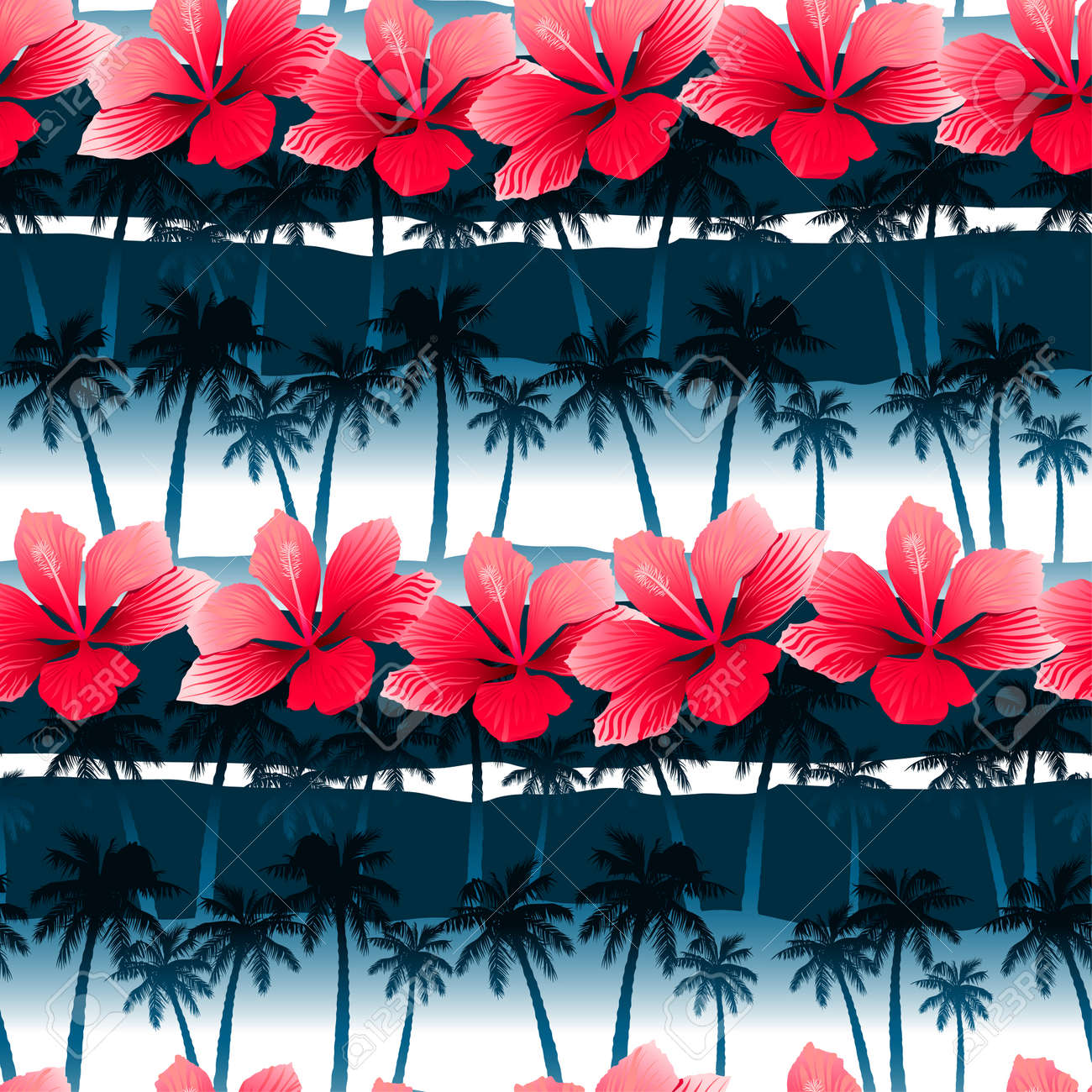 Tropical Hibiscus Flowers In A Seamless Pattern With Blue Palm