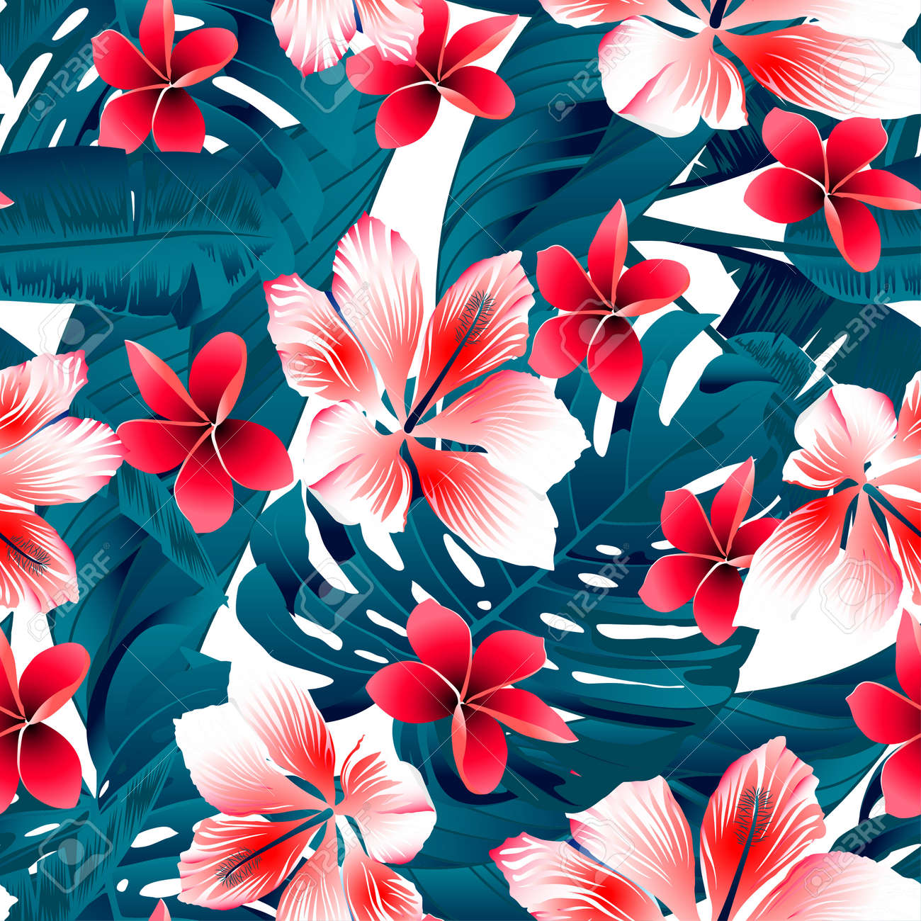 Red And White Tropical Hibiscus Flowers Seamless Pattern Royalty