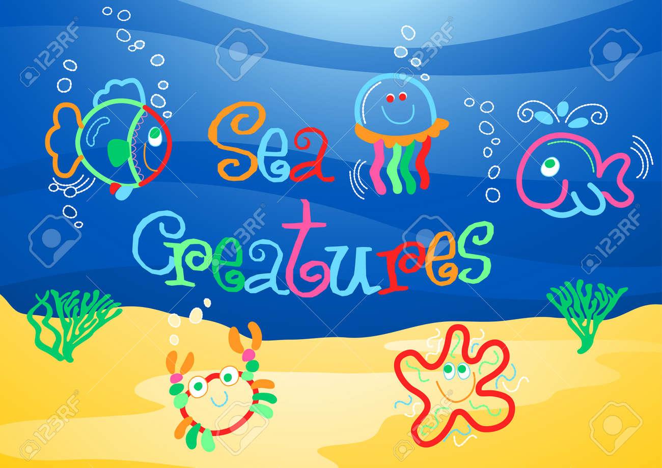 little sea creatures under the sea royalty free cliparts vectors