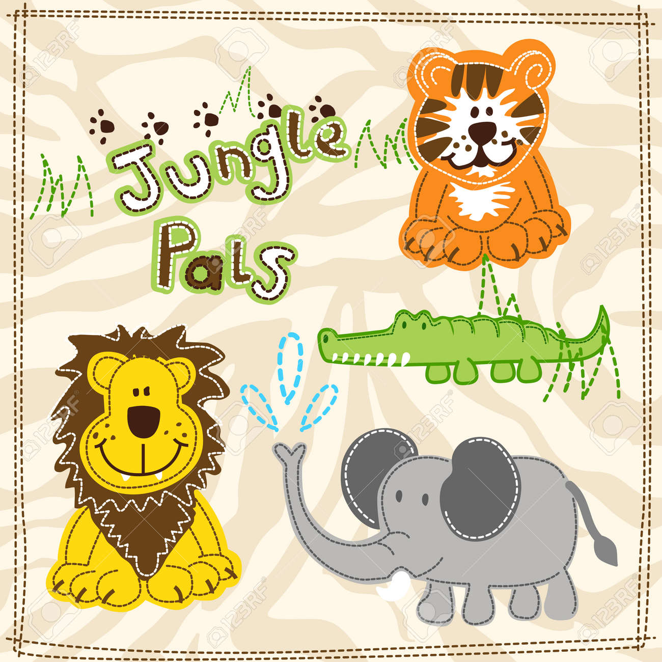 Cute African Wild Animals Embroidery Illustrations Royalty Free