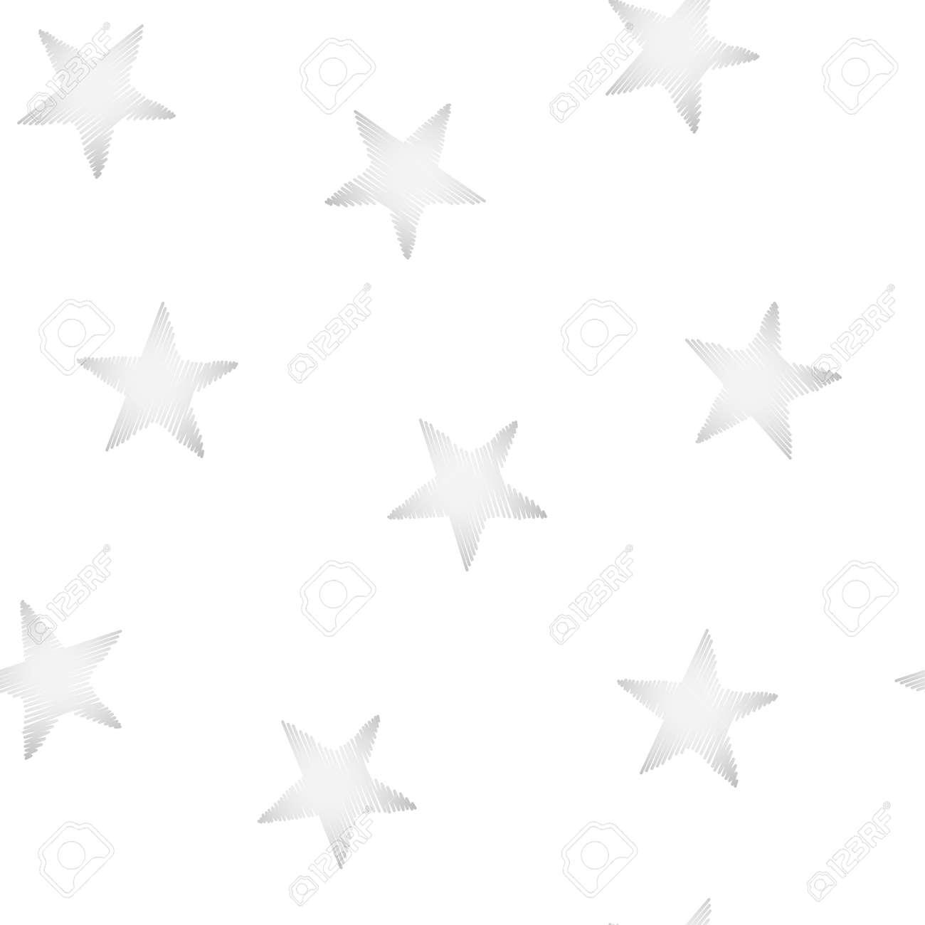 Silberne Sterne Stickerei Nähen Nahtlose Muster. Lizenzfrei Nutzbare ...