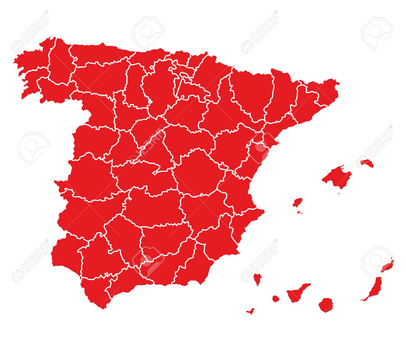 hi detailed map of spain - red - 4321135