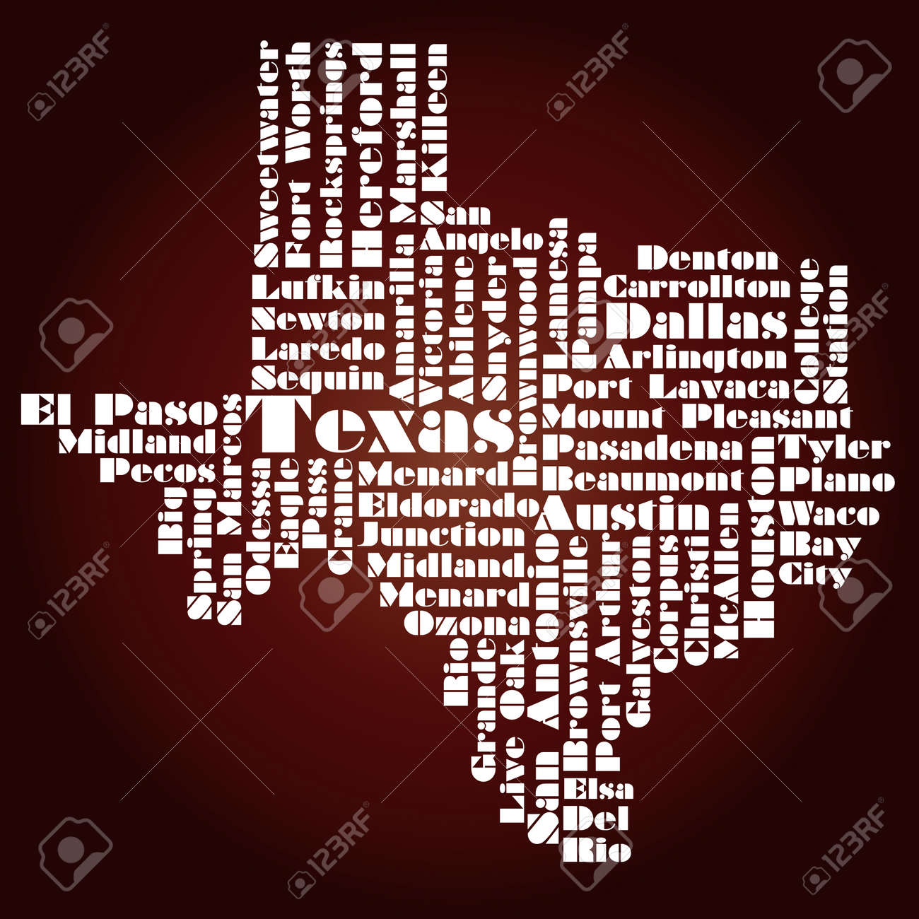 abstract map of texas state usa stock vector 12075792