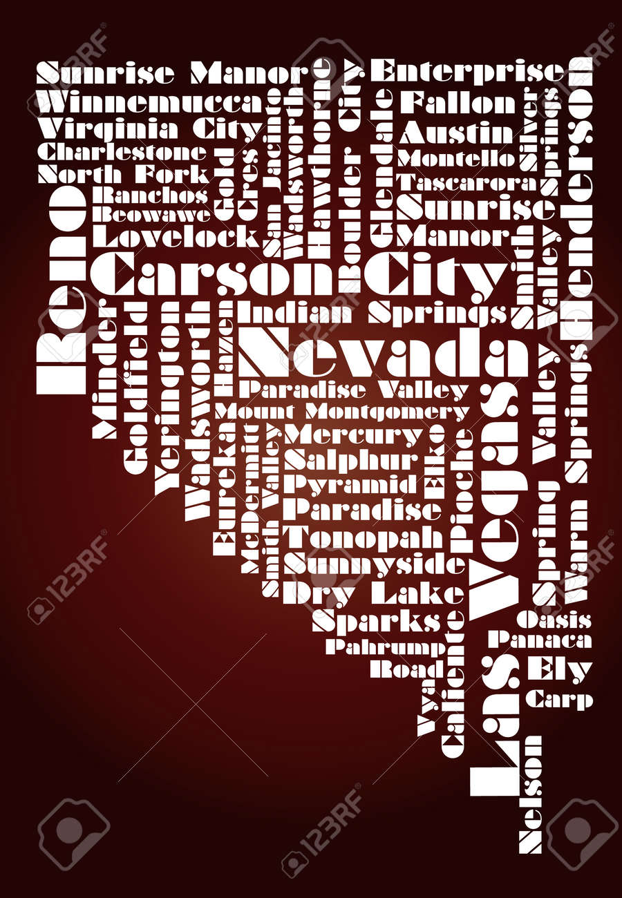 abstract map of Nevada state, USA Stock Vector - 12075804
