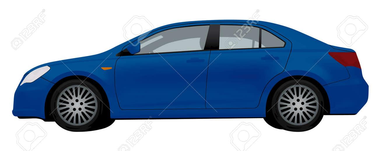 Vue De Ct De La Voiture Bleue Isol Sur Fond Blanc Clip Art Libres