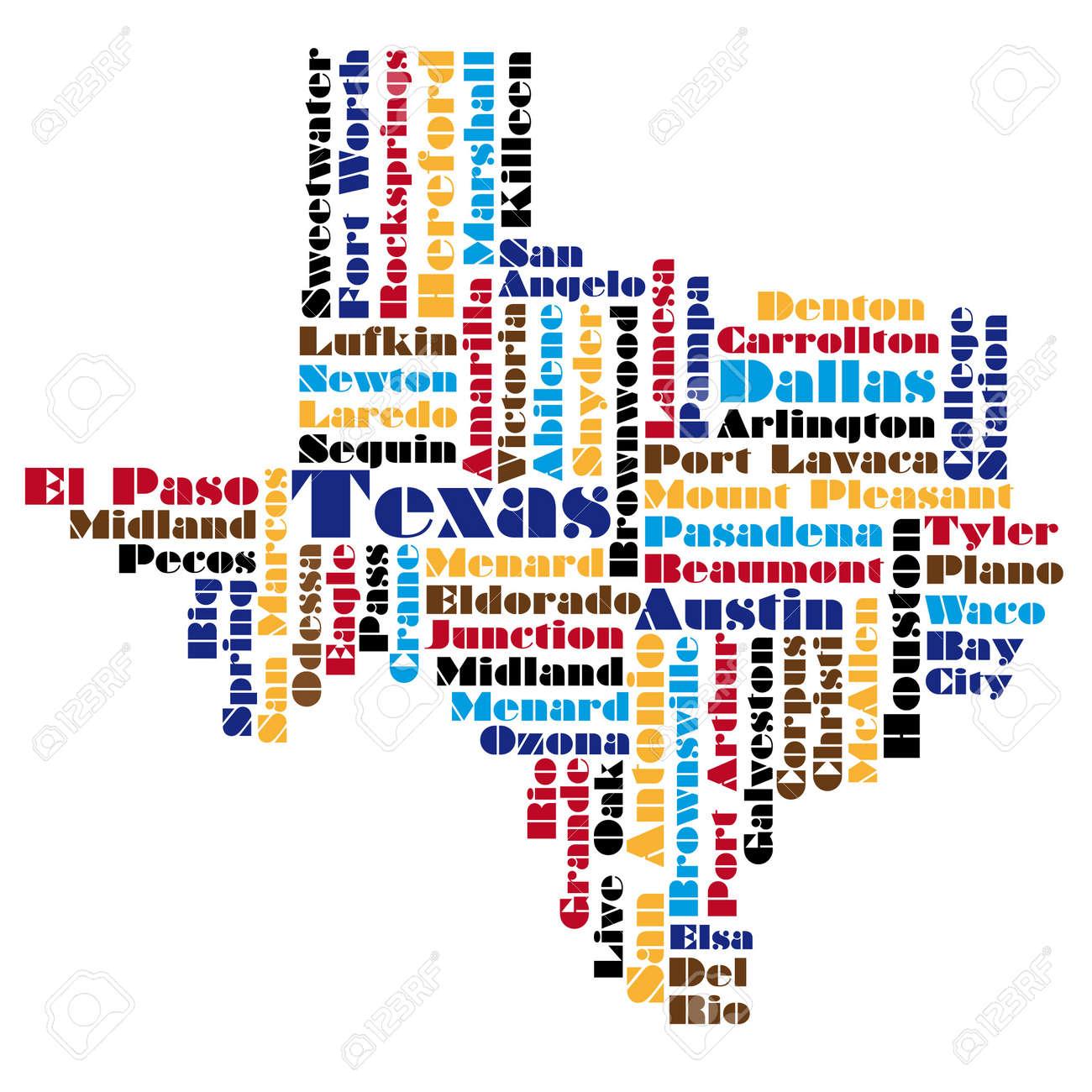 Nube De Palabras Mapa De Estado De Texas Ilustraciones Vectoriales - Mapa de texas