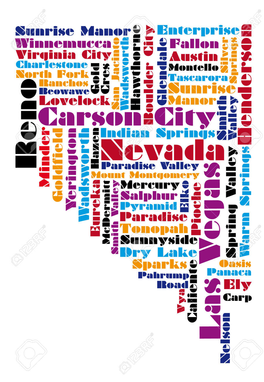 Word Cloud Map Of Nevada State Royalty Free Cliparts Vectors And - Mapofnevada
