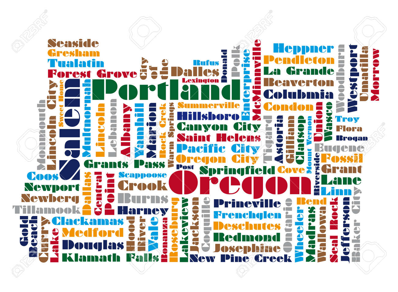 Word Cloud Map Of Oregon State Royalty Free Cliparts Vectors And - Mapoforegon