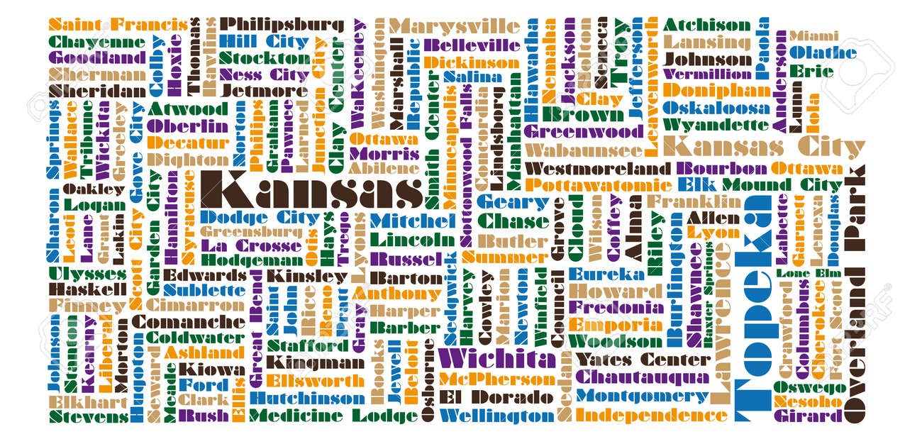 Word Cloud Map Of Kansas State Royalty Free Cliparts Vectors And - Kansas state map