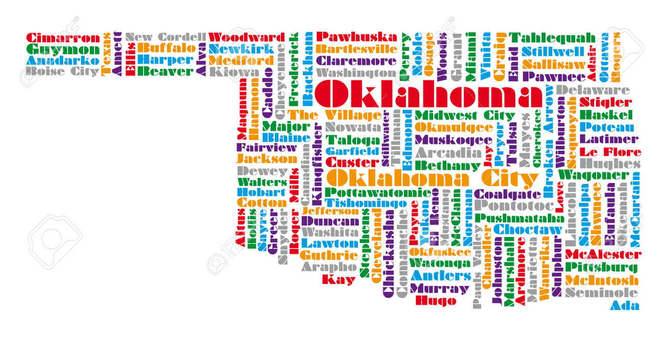 Word Cloud Map Of Oklahoma State Royalty Free Cliparts Vectors - Map of the state of oklahoma
