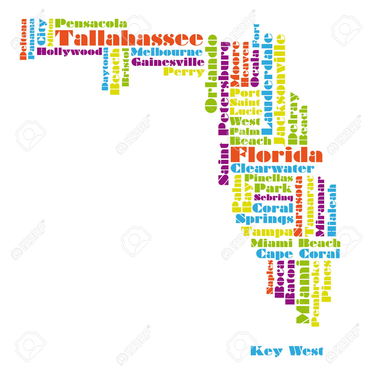 word cloud map of Florida state - 13122214