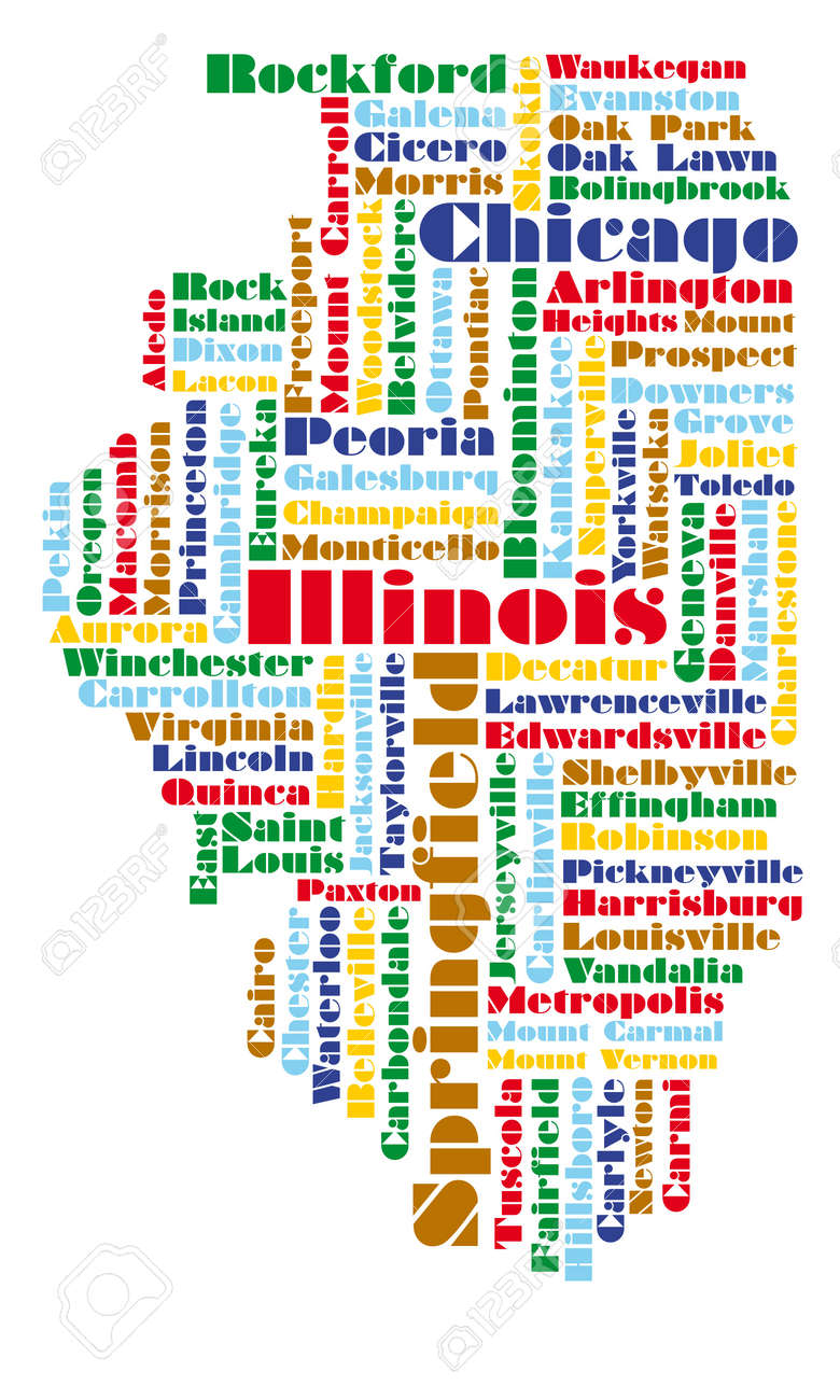 Word Cloud Map Of Illinois State Usa Stock Vector 13728086