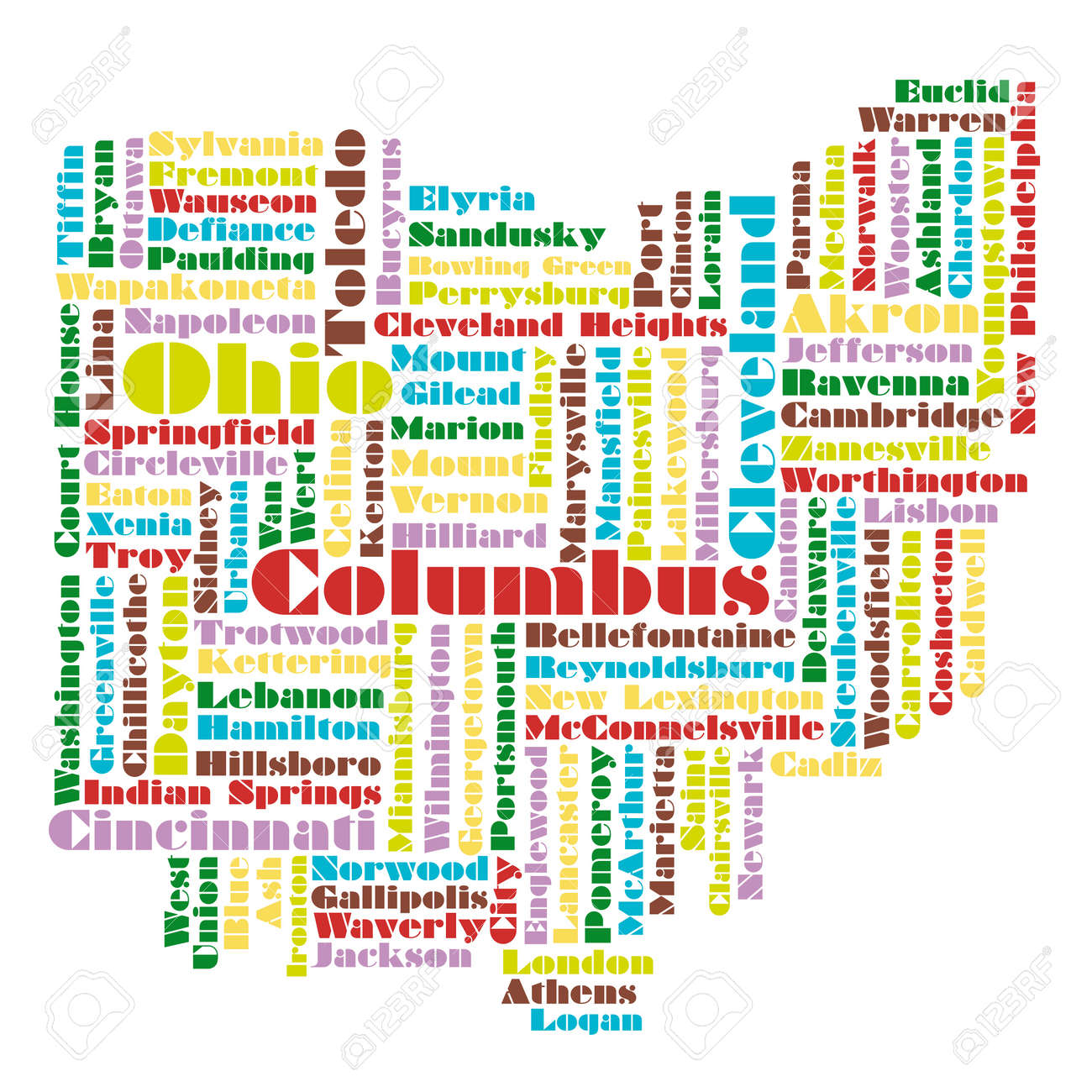 Word Cloud Map Of Ohio State Usa Royalty Free Cliparts Vectors - Map of state of ohio