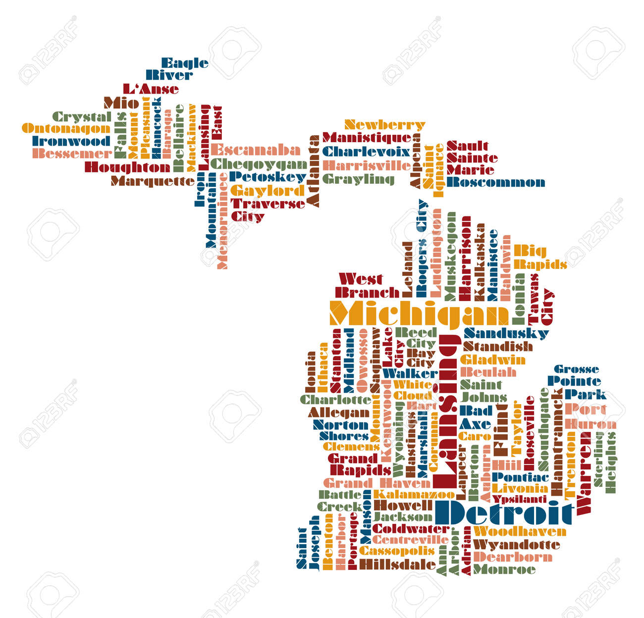 Word Cloud Map Of Michigan State Usa Royalty Free Cliparts - Michigan state usa map