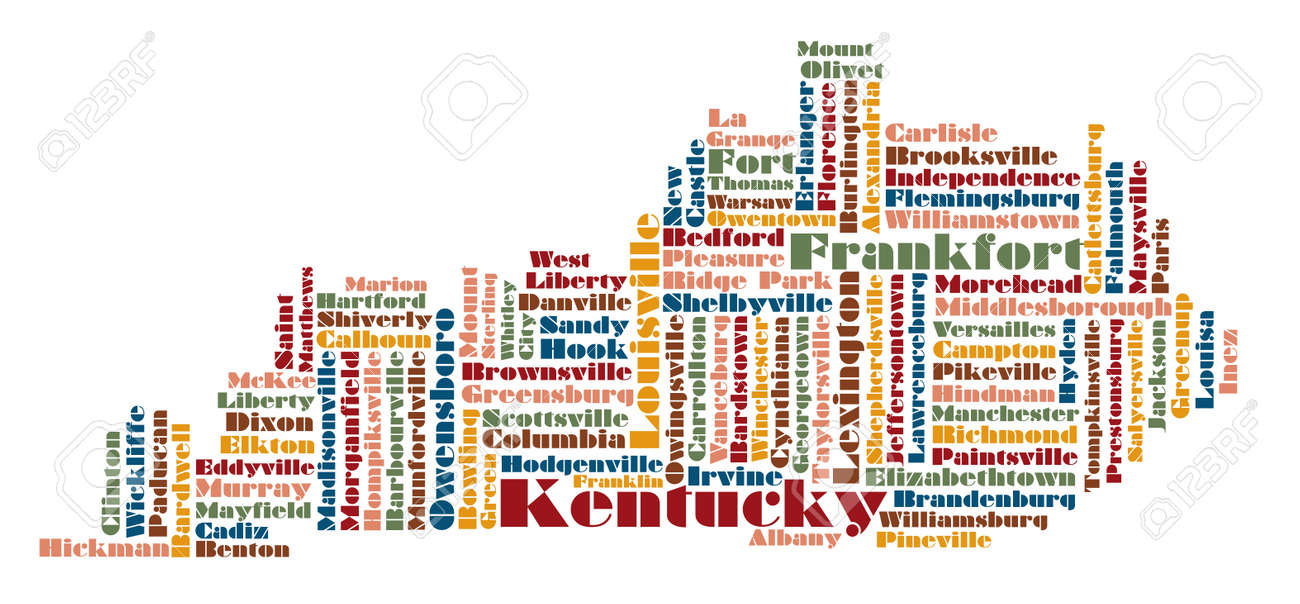 Word Cloud Map Of Michigan State Usa Royalty Free Cliparts Vectors