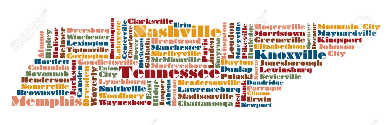 Word Cloud Map Of Tennessee State Usa Royalty Free Cliparts - Tennessee in usa map