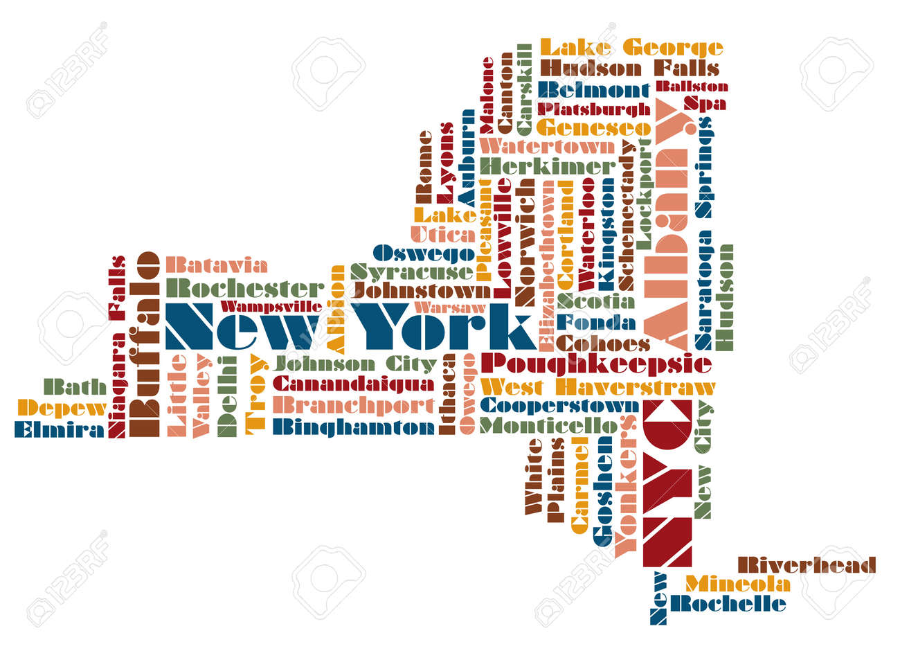 Word Cloud Map Of New York State State Usa Royalty Free Cliparts