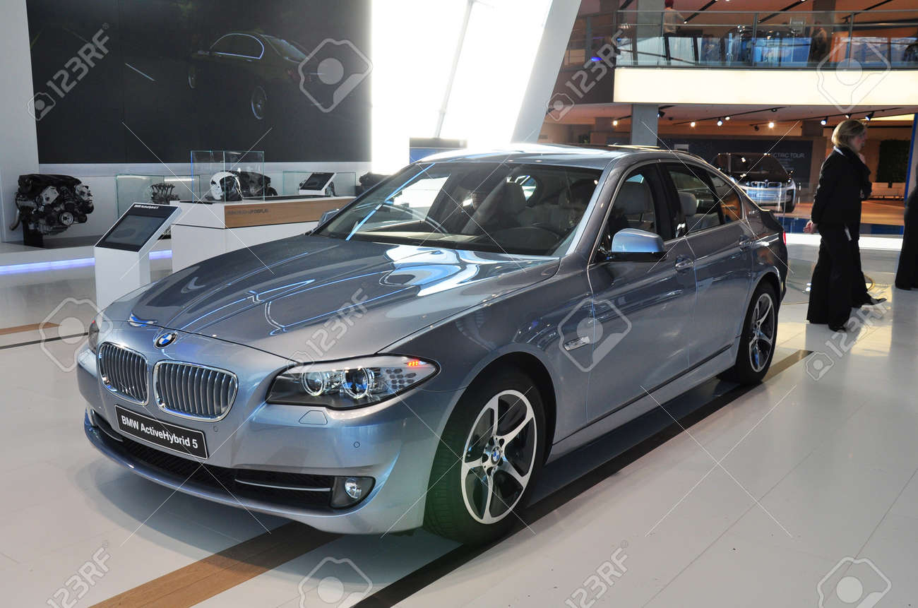 MUNICH, DECEMBER 11: BMW 5 Series Limousine at BMW Car Show on December 11, 2012 in Munich, Germany - 16837390