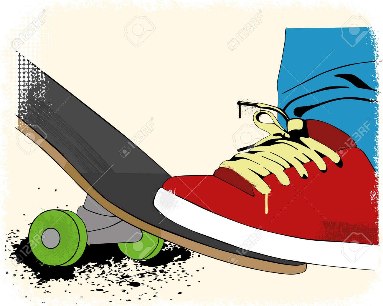 Grunge skate boarding background - 16970169