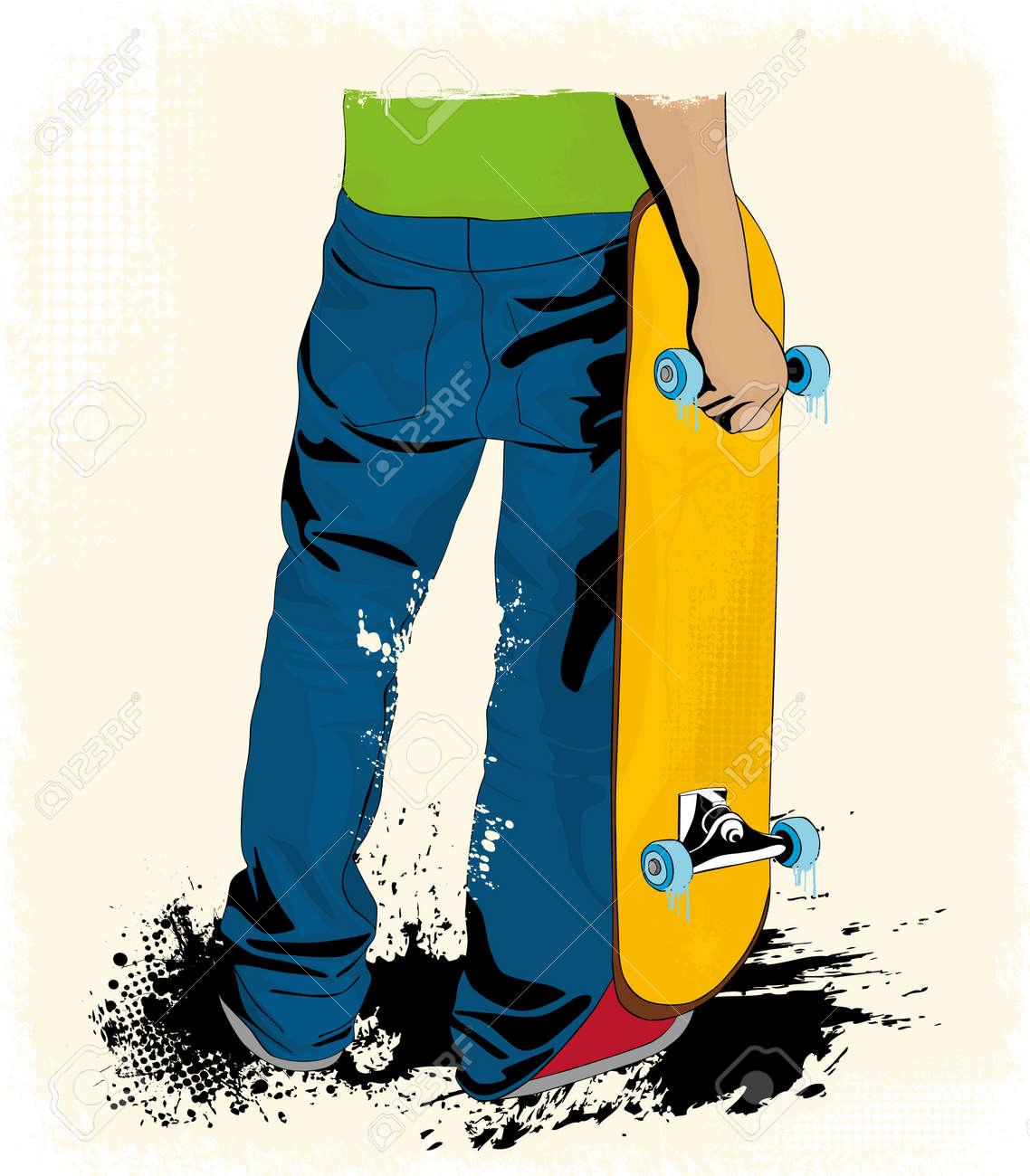 Grunge skate boarding background - 16970171