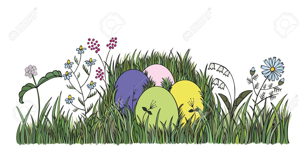 Easter eggs in green grass -  illustration Stock Vector - 17499825