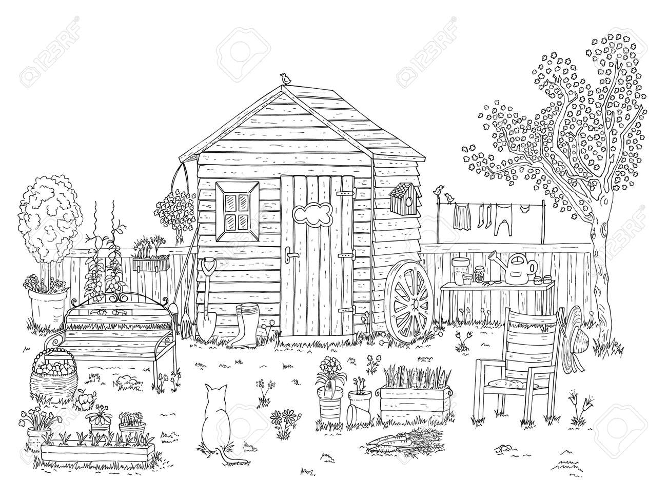 Sketch Of Nice Garden - Coloring Book Royalty Free Cliparts, Vectors ...