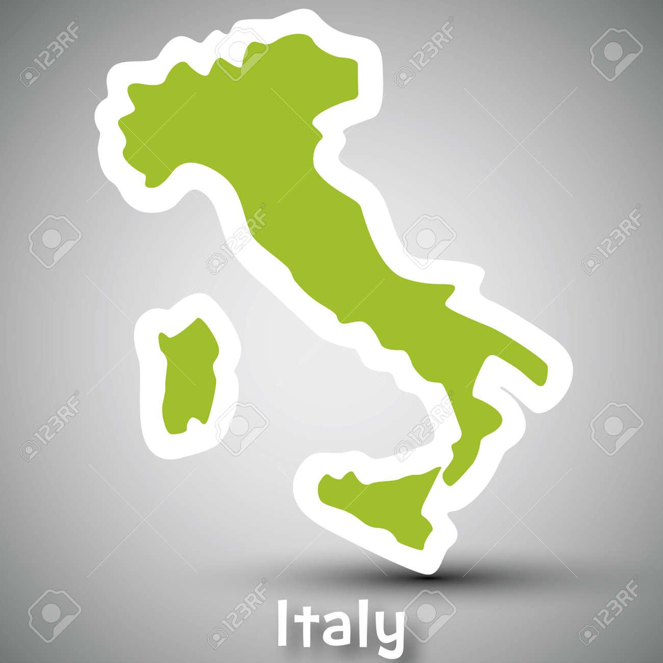 Italy map sticker Stock Vector - 17884880