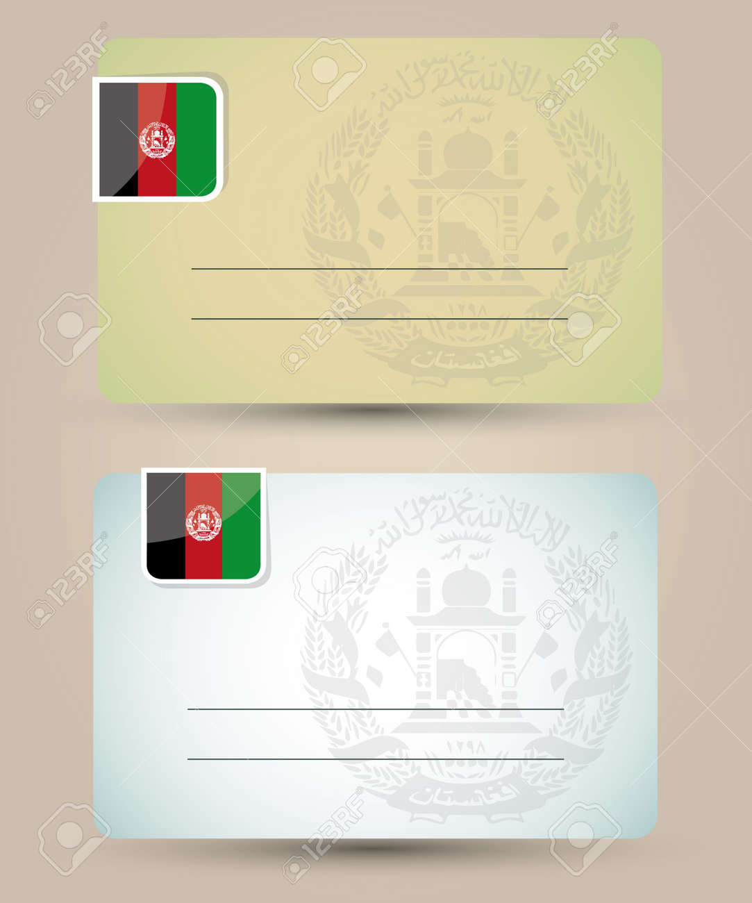 business card with flag and coat of arms of Afghanistan Stock Vector - 18421028