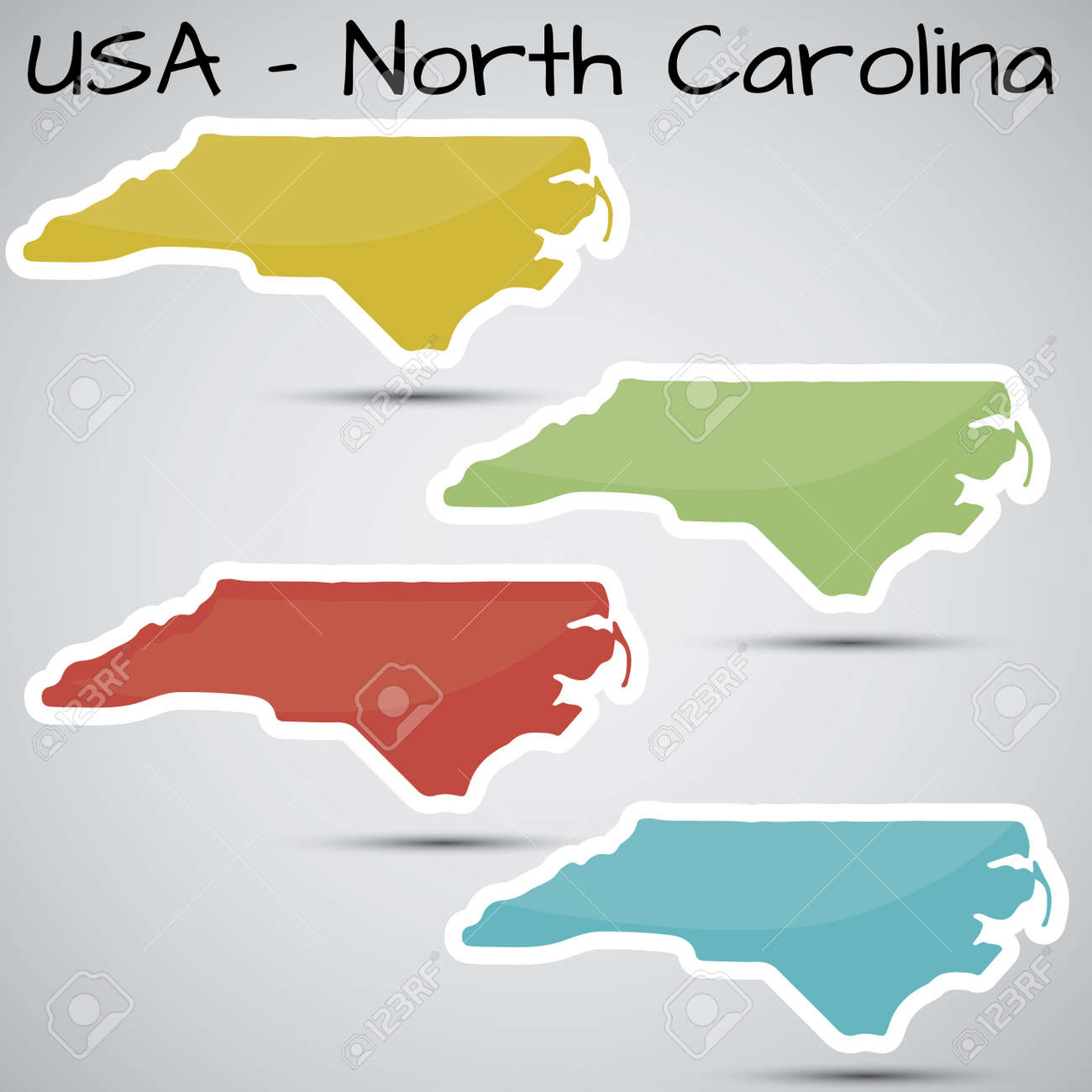 stickers in form of North Carolina state, USA - 21633663