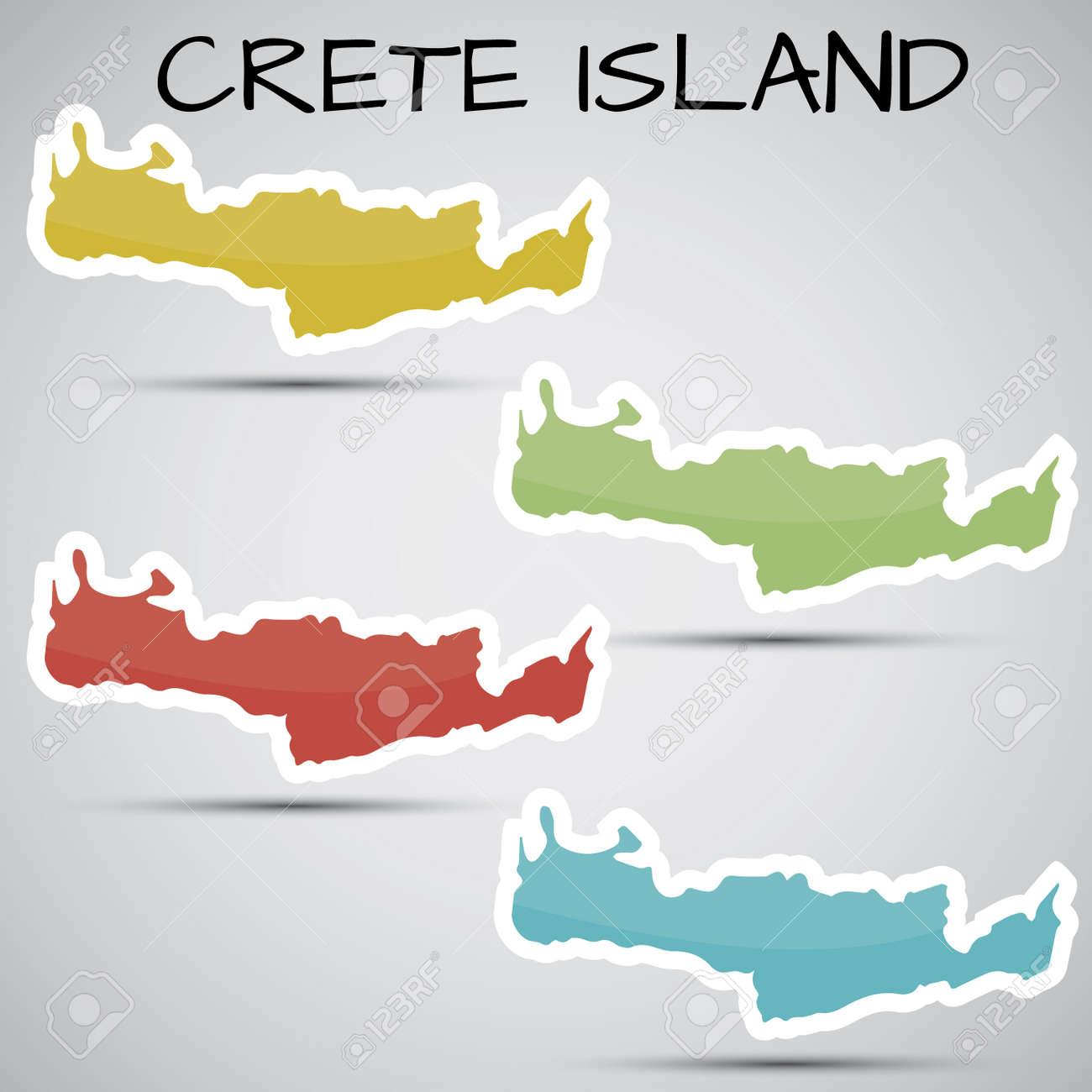 stickers in form of Crete Island, Greece Stock Vector - 21633698