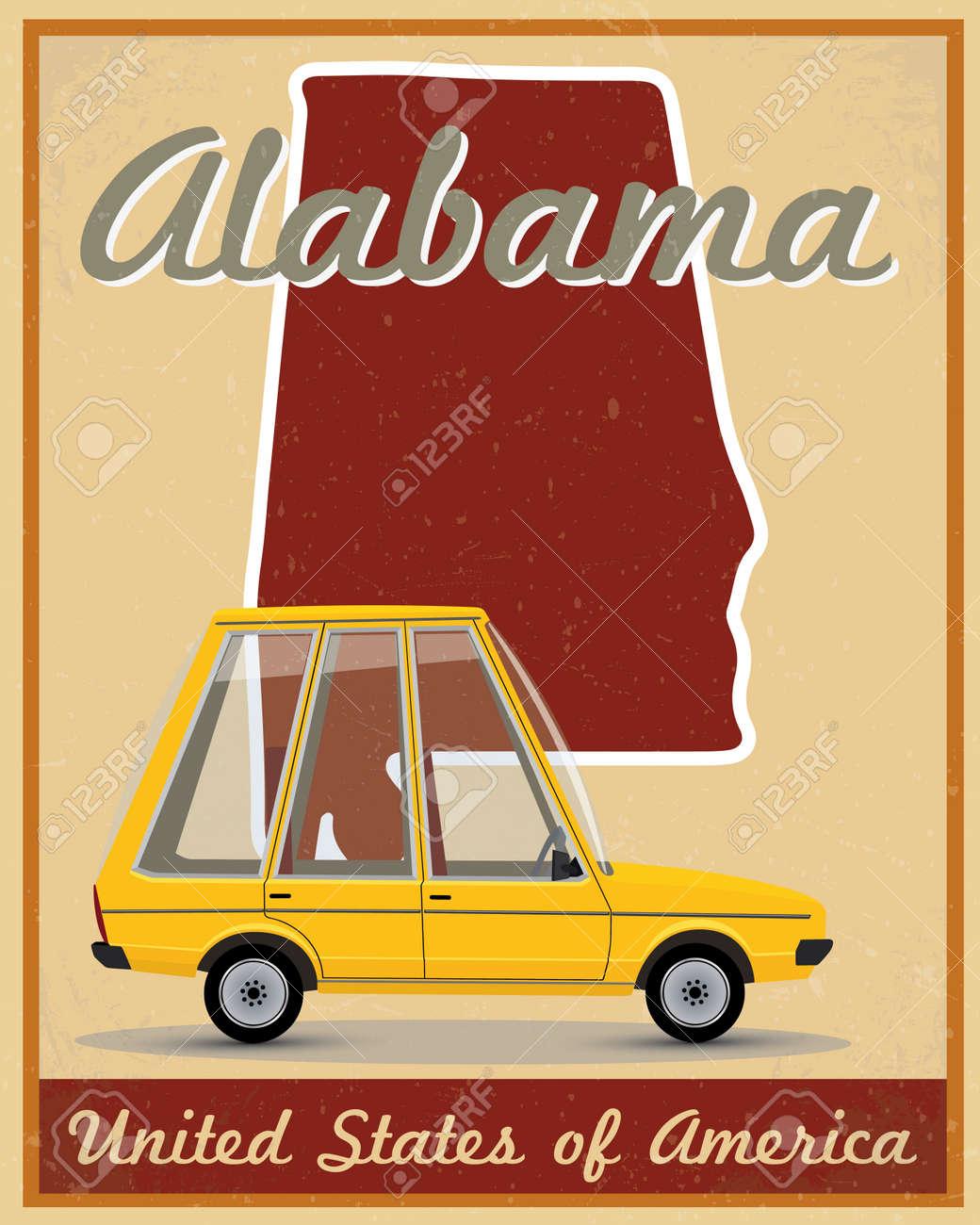 Alabama Road Trip Vintage Poster Royalty Free Cliparts, Vectors ...
