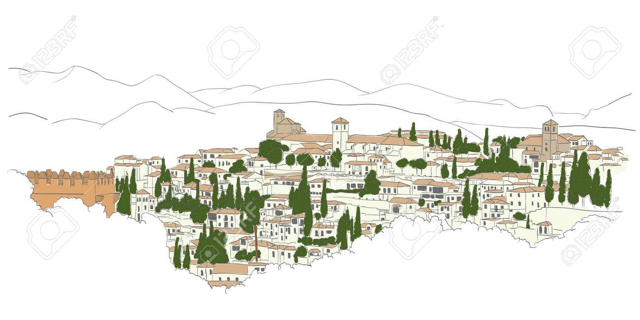 urban sketch of Granada, Spain view from Heneralife - 26548844