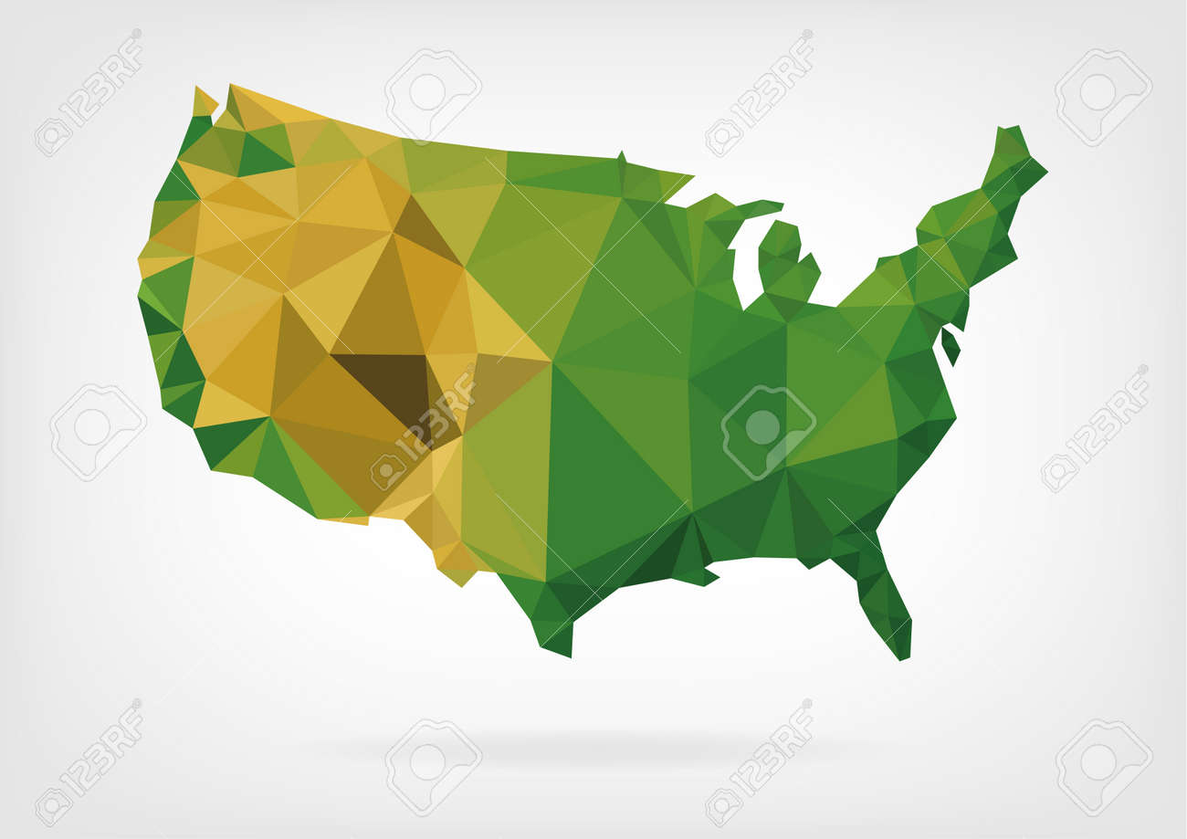 Low Poly Map Of USA Royalty Free Cliparts Vectors And Stock - Free united states map graphic