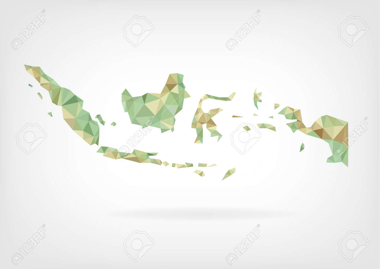 Low Poly map of Indonesia - 35808296