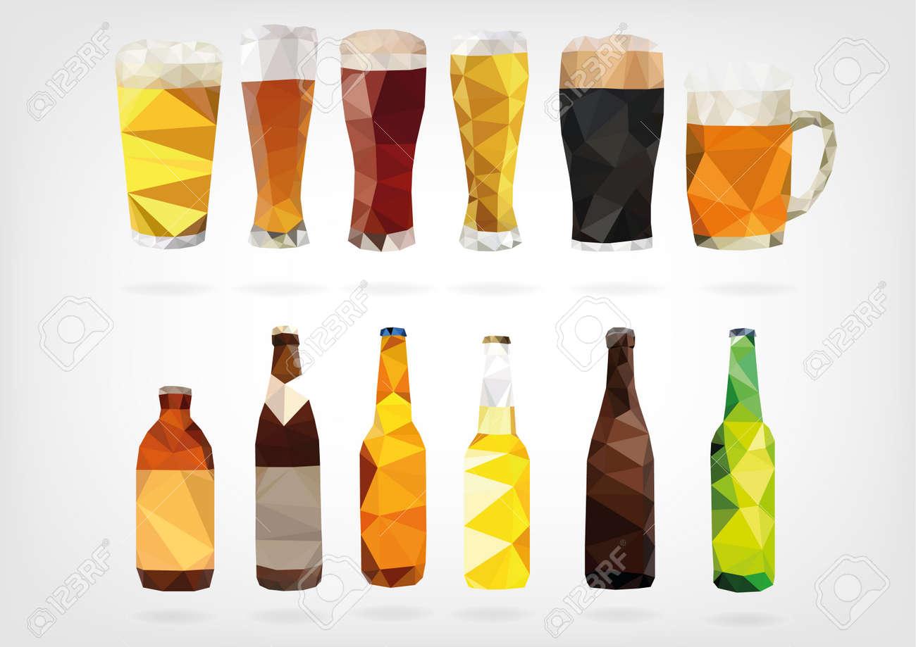 Low Poly Beer Bottles - 37968286
