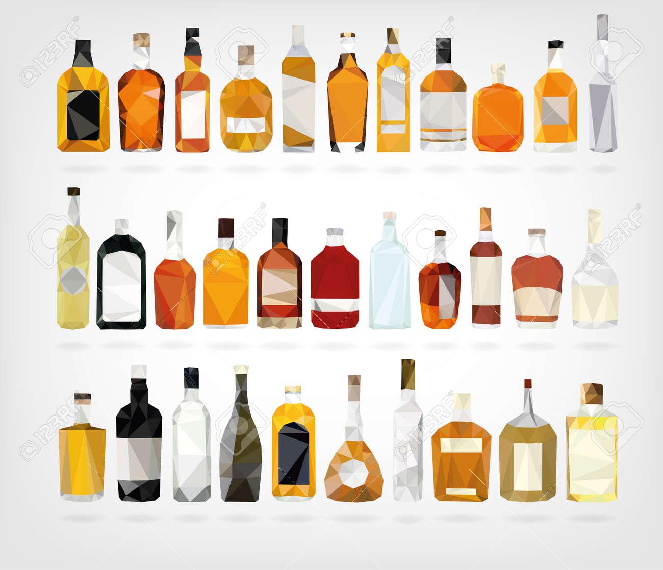 Low Poly Liquor Bottles - 38556036
