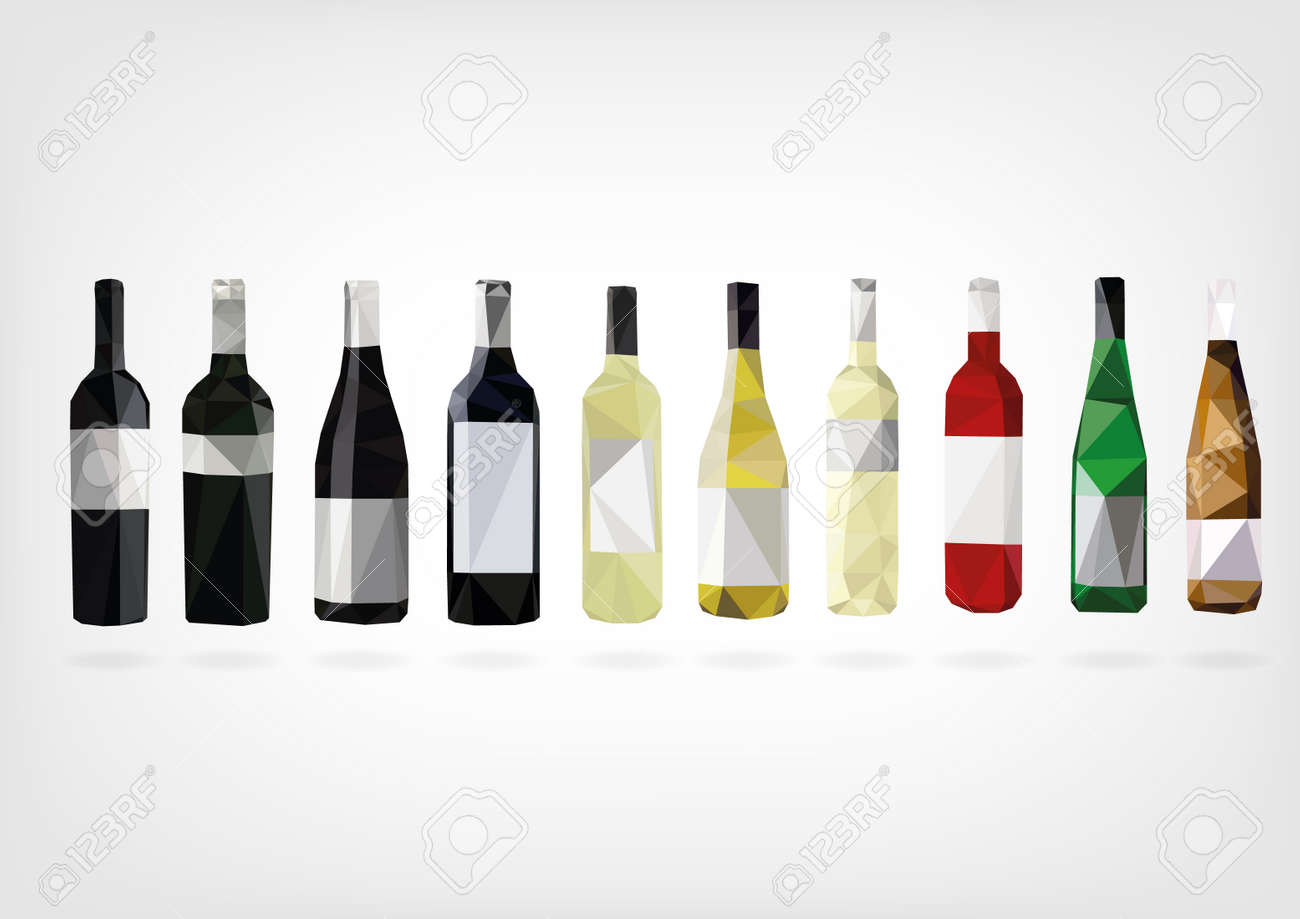 Low Poly Wine Bottles - 38556037