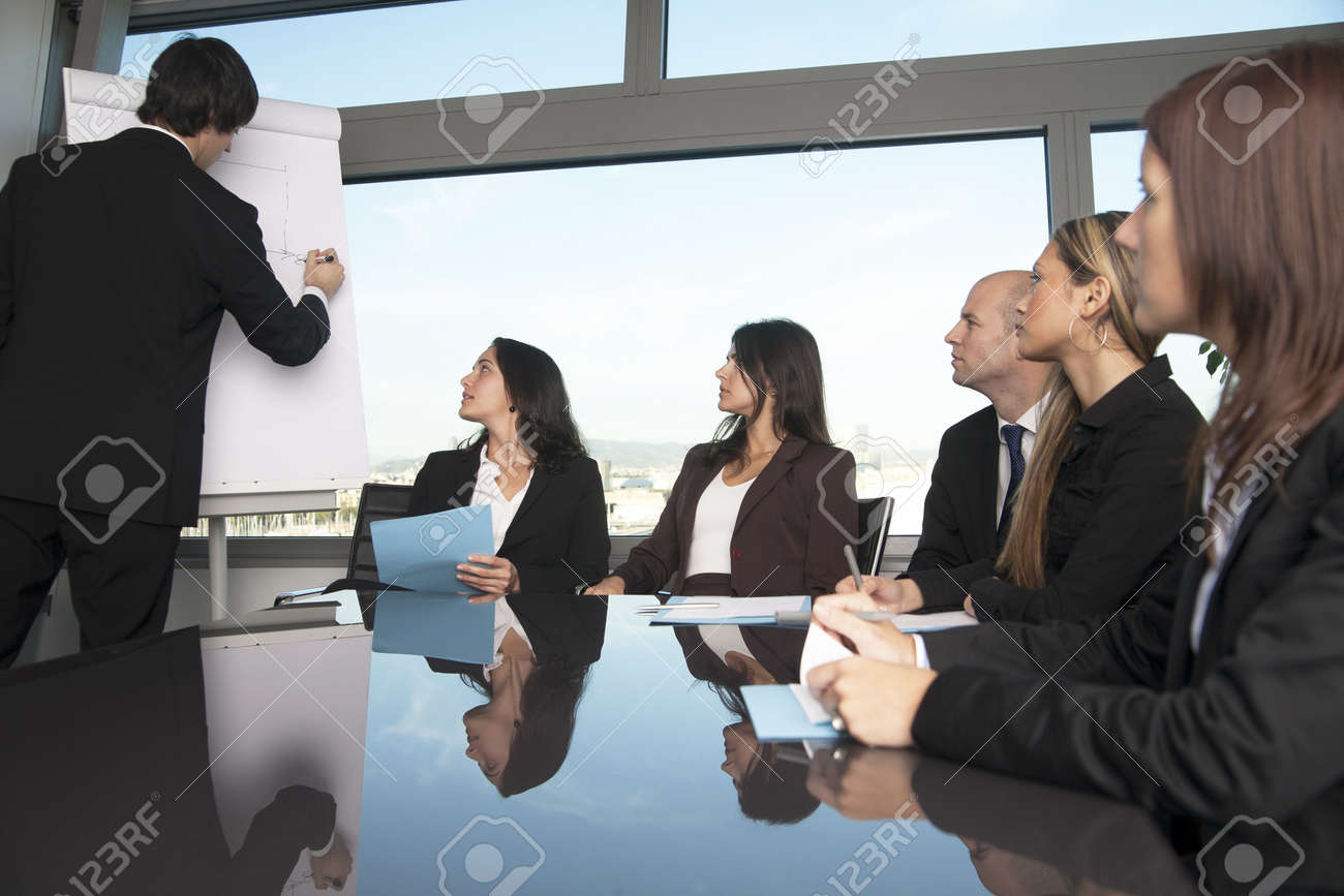 nice person office. Boardroom Presentation In A Nice Office With Panorama View - Six Persons Stock Photo 12308374 Person C