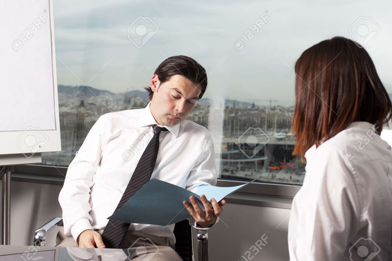 recruiter checking the cv during job interview stock photo recruiter checking the cv during job interview stock photo 12525629