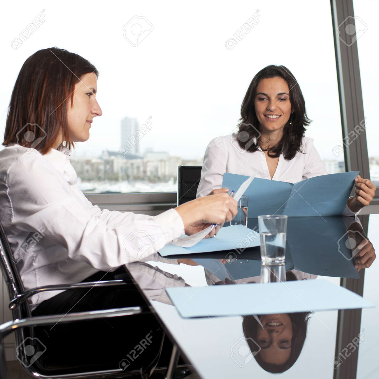 HR expert smiling during job interview Stock Photo - 16449102