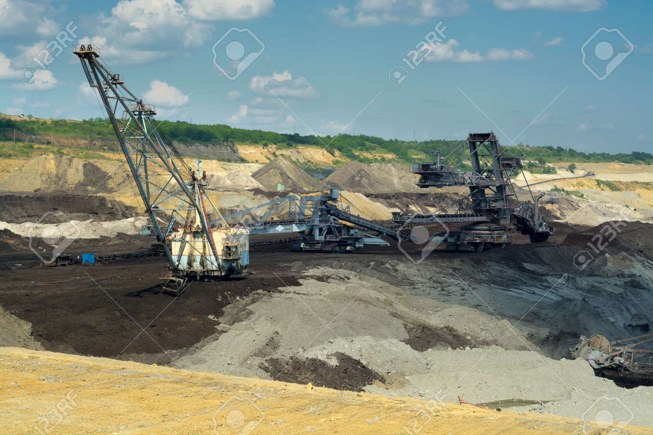big machine coal mining mine excavator kolubara lazarevac