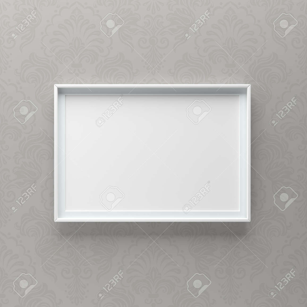 Elegant Picture Frame Standing On Gray Wall With Pattern Design Stock Photo Picture And Royalty Free Image Image 119387672